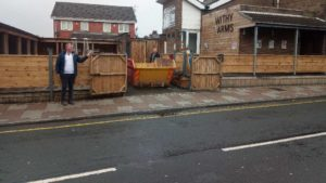 Skip Hire Bolton placed within grounds of construction work on a house