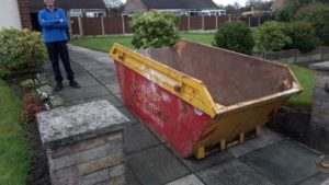 Lostock Skip at the end of Driveway