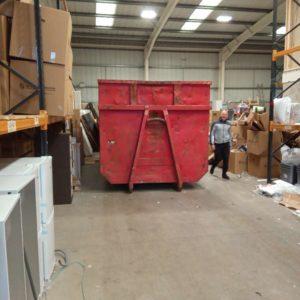 Lostock Skip inside warehouse